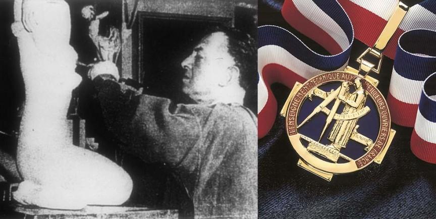 Le sculpteur Lagriffoul, créateur de la médaille des MOF