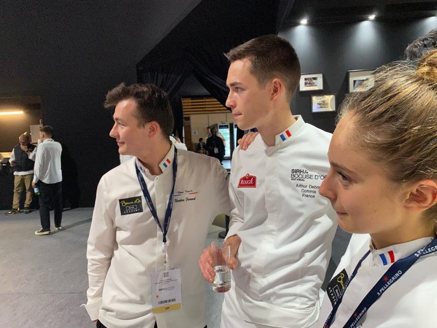 Team France : Nicolas, Arthur et Naïs avant l'annonce des résultats Bocuse d'or 2021.